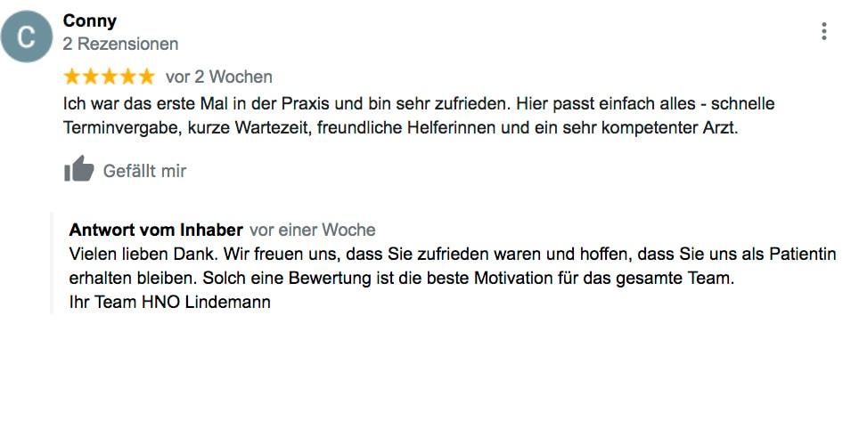 Google Bewertung 2 - HNO Praxis Lindemann