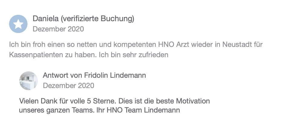 Doctena Bewertung 1 HNO Praxis Lindemann