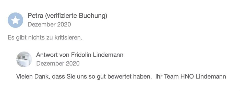Doctena Bewertung 2 HNO Praxis Lindemann