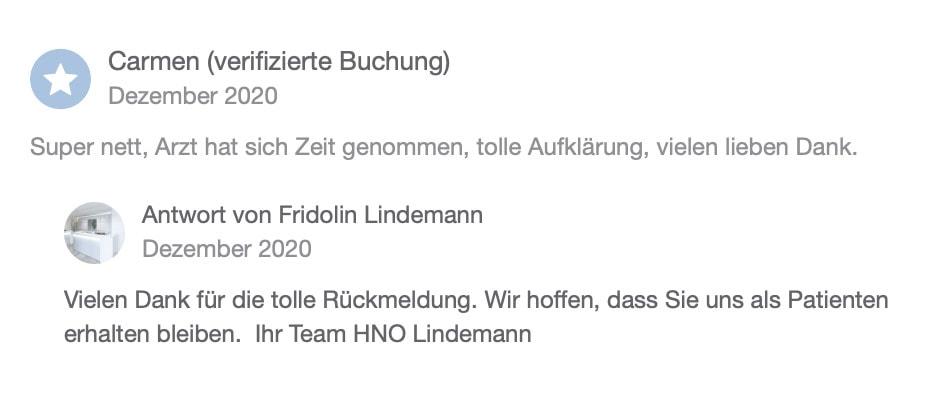 Doctena Bewertung 3 HNO Praxis Lindemann